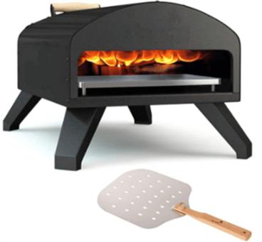 Outdoor Pizza Oven Black + Pizza Peel Combo